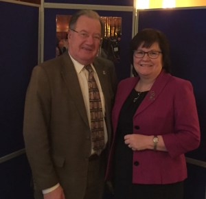 Alistair Tyre with Heather Dunk, Principal of Ayrshire College