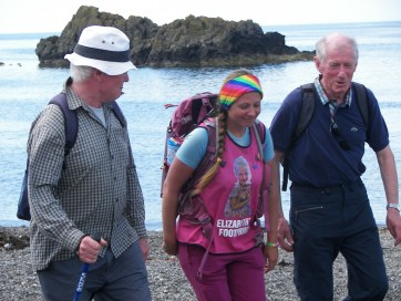 Muir, Natalia and Harry walking the coastal path