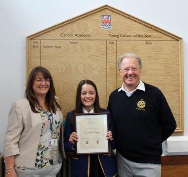 Head Teacher, Shona Stevens, Kayleigh Haggo and Alistair Tyre, Ayr Rotary Club