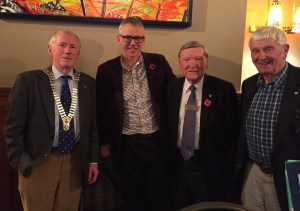 President Harry with speaker Rev Ian Stirling, Willie Stewart and John Ewing