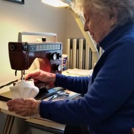 Pat Froh sewing masks