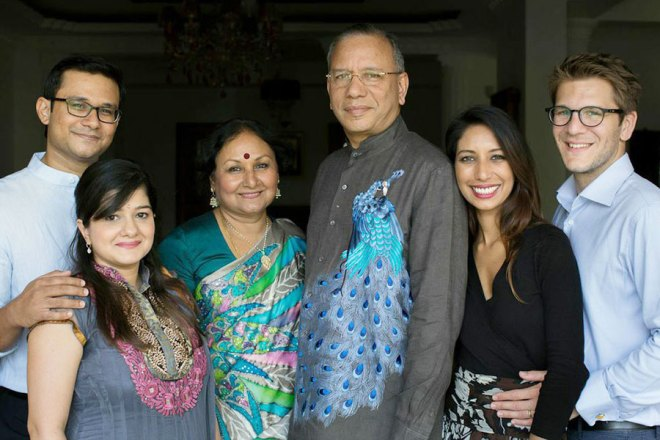 From left: Son Krishna, daughter-in-law Neesha, Vanathy, K R Ravindran, daughter Prashanthi and son-in-law Nicolas Mathier.