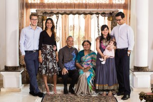 Ravindran with his family, from left: son-in-law Nicolas Mathier, daughter Prashanthi, wife Vanathy, daughter-in-law Neesha, granddaughter Raika and son Krishna.