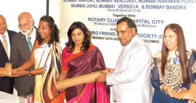 Distribution of limbs. D3220 Governor Gowri Rajan (fourth from right) is also seen in the picture.