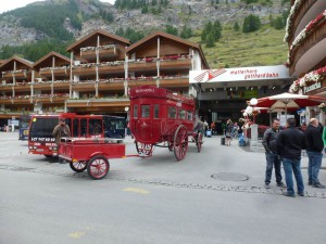 The quaint Zermatt Station at the foot of the Alps.