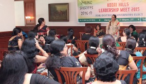 Sharmishtha Desai addressing the Spouses' session.