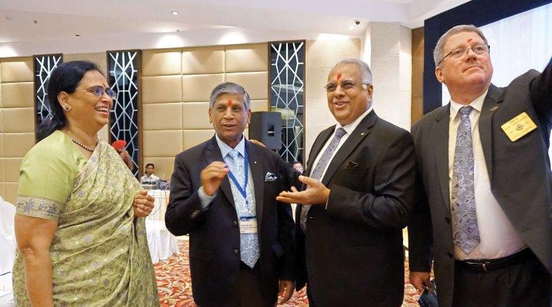 From left: Sharmishtha Desai, PRID Yash Pal Das, RI Director Manoj Desai and DG David Hilton.