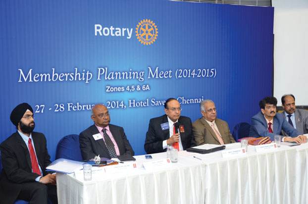 L to R: Jatinder Singh, Club and District Support Manager - RISAO; PDG C Basker, PRID P T Prabhakar, RID Manoj Desai, PDGs Ulhas Kolhatkar and Vijay Jalan at the planning meet in Chennai.