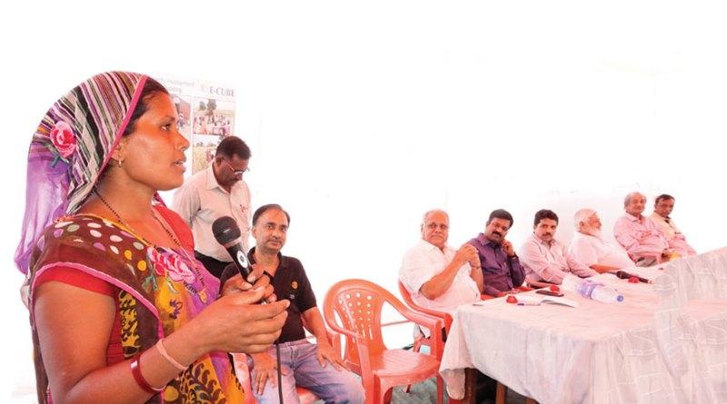 Listening to Leelaben in rapt attention are (From Left) Club President Agam Shrivastava, RI Director Manoj Desai, District Collector Jenu Devan, Shroffs Foundation CEO Vikas Vaze, Trustee R K Sama, and Charter member of the club Sunil Vakil.