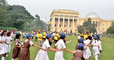 Children from welfare schools running around the Raj Bhavan campus.