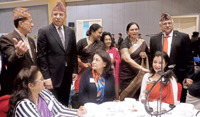 RI President K R Ravindran and spouse Vanathy Ravindran chat with Nepal's Rotarians. Also seen in the picture are (from left) DG Keshav Kunwar, Durga Kunwar, Sharmishtha Desai and RID Manoj Desai.