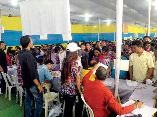 Patients queue up at the RAHAT camp.