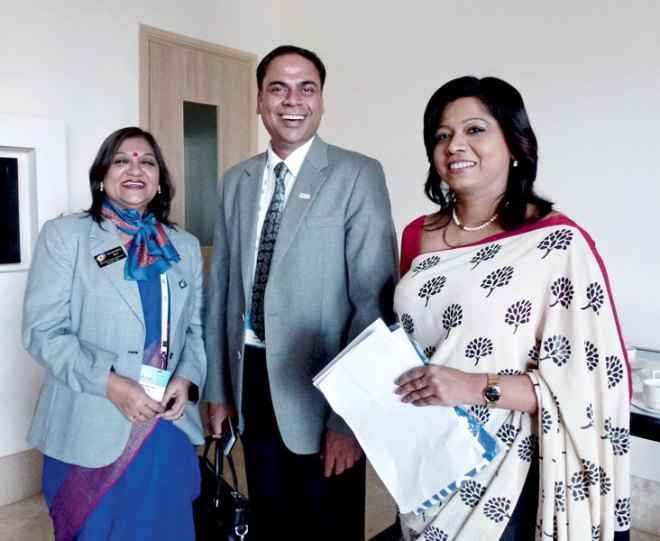 From left: DGE Shyamashree Sen, DG Sanjay Khemka and PDG Gowri Rajan.