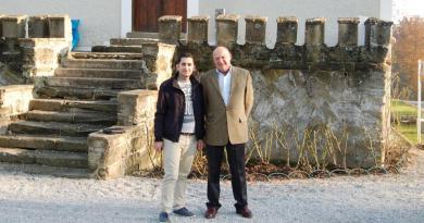 Muhammad Mallah Hamza (left) with Rotarian Andreas von Bardeau outside Bardeau's castle, Schloss Kornberg. Photo Credit: Mark Baker