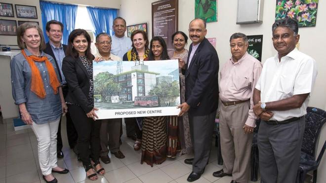 RI President K.R. Ravindran (back, center) with Rotarians from the Rotary clubs of Colombo and Birmingham, which have helped fund the National Cancer Prevention and Early Detection Center in Colombo, Sri Lanka. Photo Credit: Rotary International / Alyce Henson