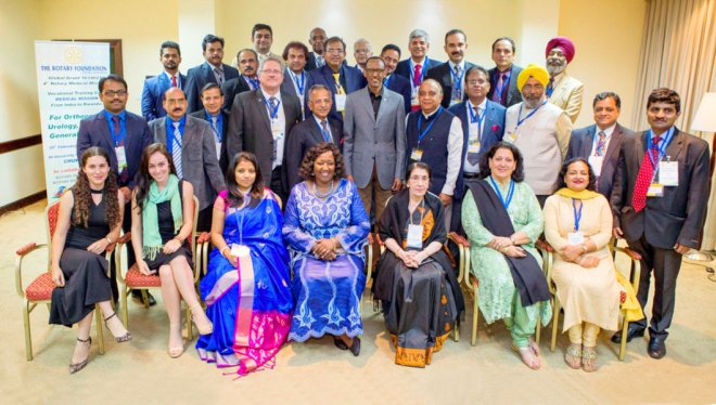 The Medical Mission team with PRIP Rajendra K Saboo and the President of Rwanda, Paul Kagame (centre).