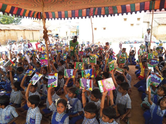 RC Arasikere RI District 3180 <br/> Educational kits distributed to students of Seva Sankalpa School, to promote literacy.