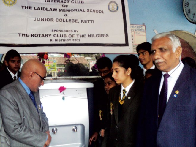 RC Nilgiris RI District 3202 <br/> The club along with its sponsored Interact Club of Laidlaw Memorial School, installed a water purifier at the Coonoor railway station.