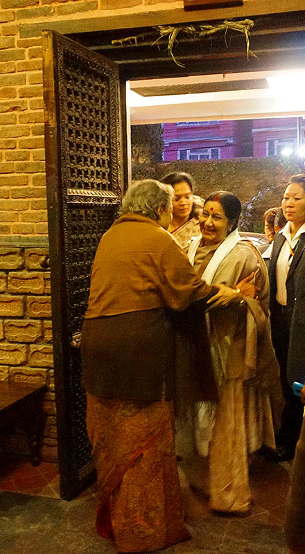 Ambika Shrestha welcoming India's External Affairs Minister Sushma Swaraj.