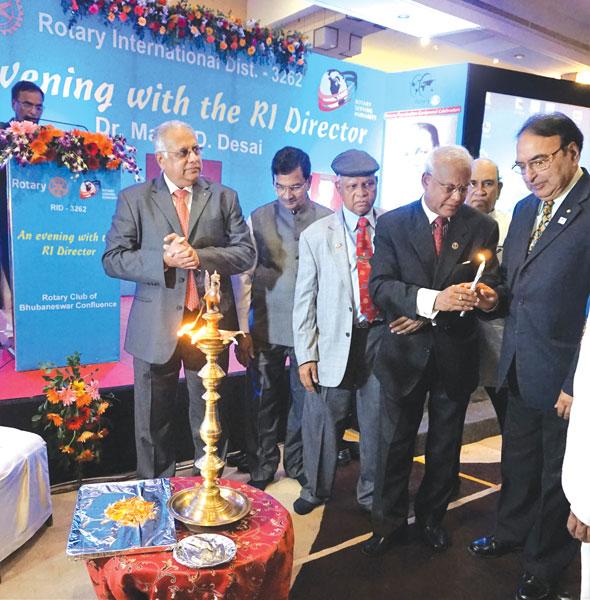 Inaugurating the TRF Centennial celebrations: RID Manoj Desai with PDG Ashok Mohapatra, DG Narayan Nayak. PDG Anirudha Roy Chowdhury (D 3291) and PDG D N Padhi.