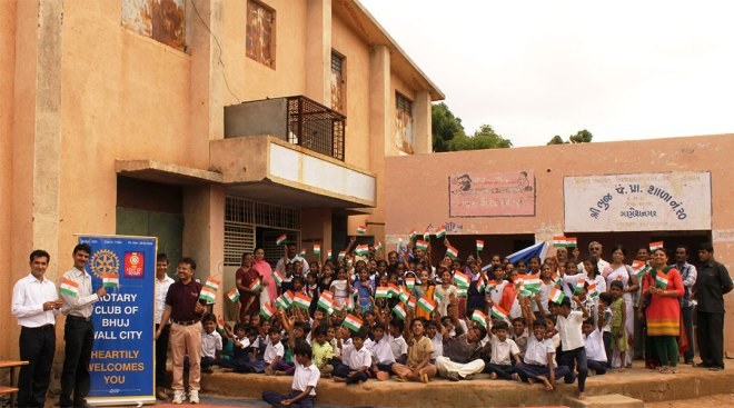 Independence Day celebration with the school children.