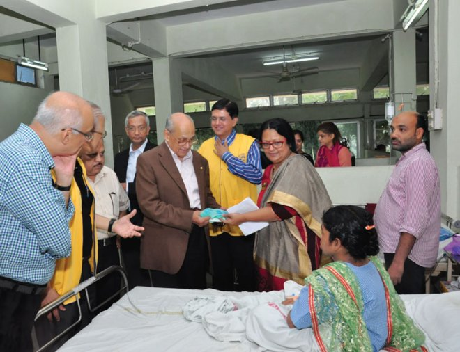 PRIP Kalyan Banerjee, Project Chairperson and member of RC Deonar Reema Nair, Rajendra Datye (PP) and A V Suresh, President, (in jacket behind Banerjee).