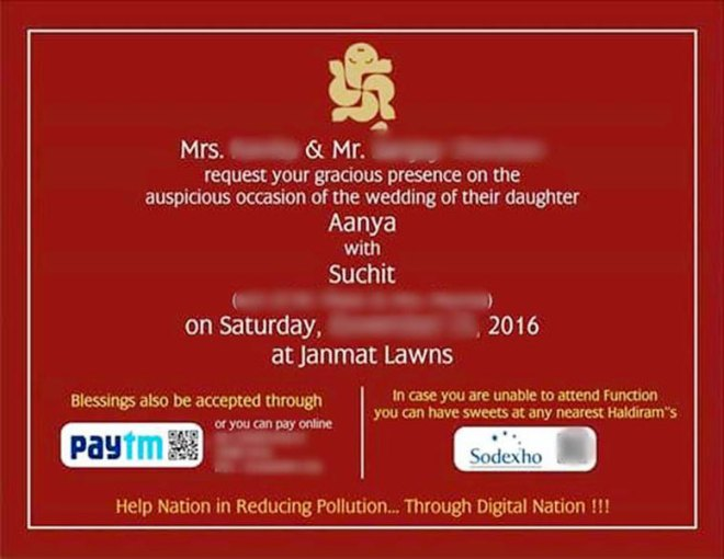 It is e-blessings now Fret not if you're unable to attend your relative/friend's wedding. You can still 'bless' the newlyweds, thanks to Paytm. One such wedding card is doing the rounds in the social media where the electronic wedding invite includes the QR codes of Paytm and Sudexo at the bottom. So blessings can be given online through Paytm. Guests can also procure their favourite sweets from nearest Haldiram outlets using the Sudexo code.