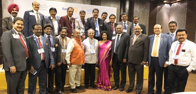 Past RI President Rajendra Saboo, RIDE C Basker and WinS Vice Chair P T Prabhakar with delegates at the WinS workshop.