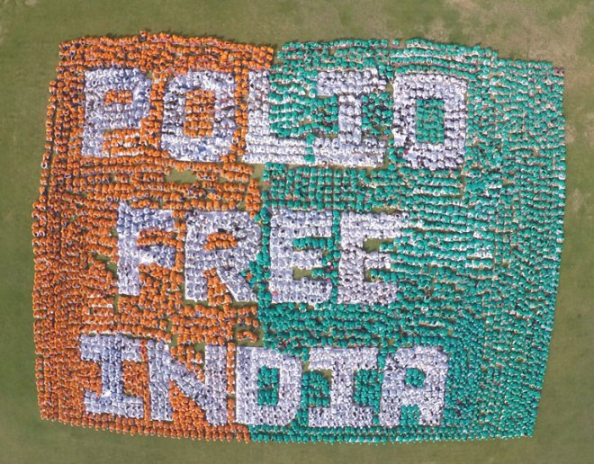 School students performing the human image of 'Polio Free India'.