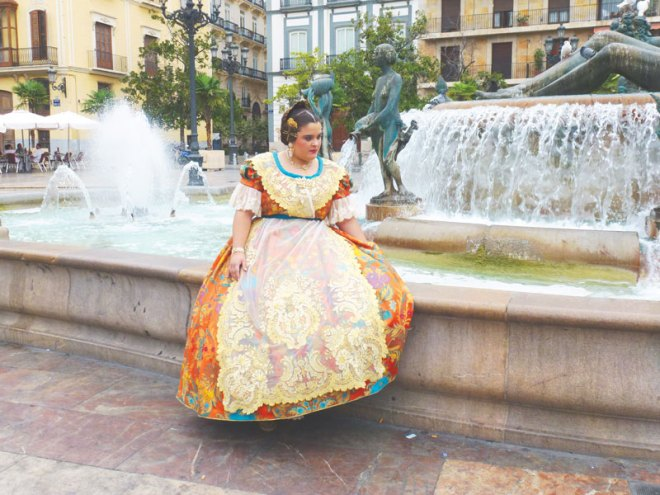 A Spanish woman in a traditional dress.