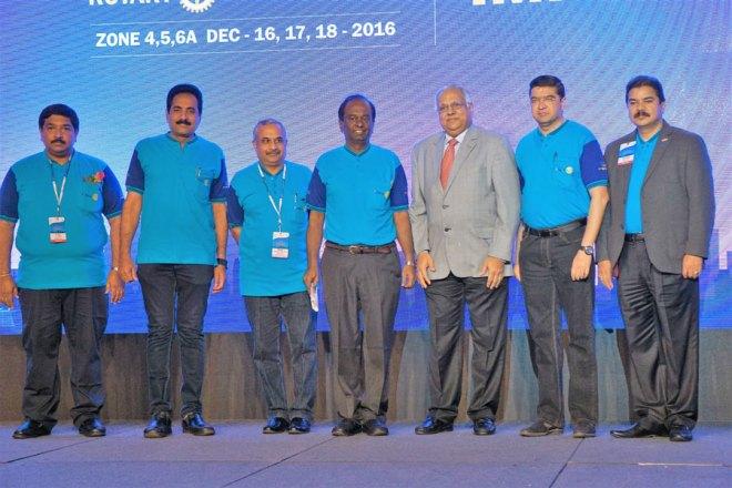 DDZI stars: From L: Institute Vice Chair TVR Murti, DG John Daniel, PDG Tikku, Chairman Raja Seenivasan, RID Manoj Desai, Organising Secretary Abhay Gadgil, DGE B M Shivraj.