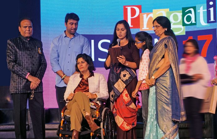 Paralympian Deepa Malik at the D 3141 District Conference. Also seen DG Gopal Mandhania (extreme left) and spouse Seema (right).