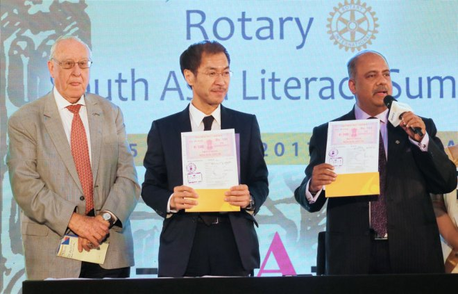 RI President John Germ, Director and UNESCO representative Shigeru Aoyagi and PRID Shekhar Mehta.