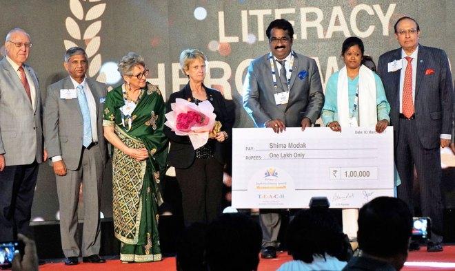 From left: RI President John Germ, PRID Y P Das, Uniphos Vice Chair Sandra Shroff, PDG Nancy Barbee, RC Madras Industrial City President G Murugesh, Shima Modak and PRID P T Prabhakar.