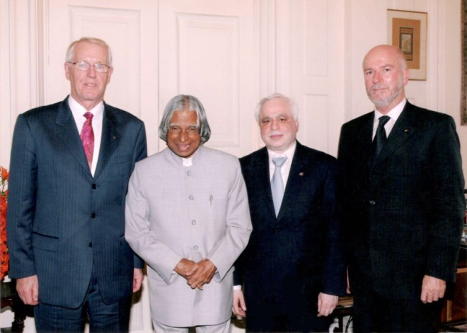With (from L) PRIP Carl-Wilhelm Stenhammar, President APJ Abdul Kalam and PRID Francisco Creo.