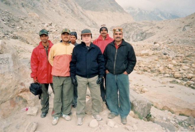 With mountaineers in the Garhwal Himalayas.