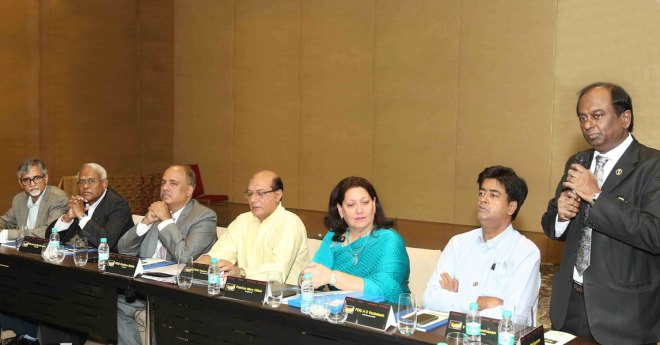From left: PDGs Rajani Mukerji, Anirudha Roy Chowdhury, RILM Chair Shekhar Mehta, Vice Chair Kamal Sanghvi, Association of Inner Wheel Clubs Vice President Patricia Hilton, RILM Joint Secretary A S Venkatesh and Ignite Chair Raja Seenivasan.