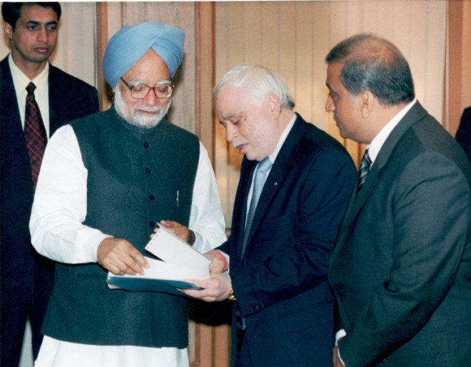 With Prime Minister Manmohan Singh.
