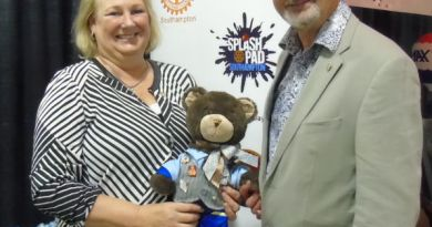 Hampton Bear, a Rotary Club of Southampton mascot, visited the Port Elgin Rotary Home Show with Rotarians Sylvia and Tony Sheard on April 9 at the Southampton Coliseum. Hampton will be auctioned later this summer to raise money for Rotary's polio eradication efforts.