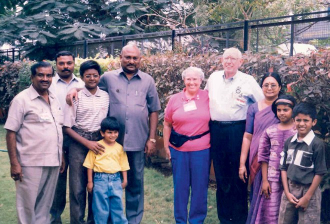 Basker and Mala hosting a team from D 5330, USA, at their home, when they came to to attend the NID in India.