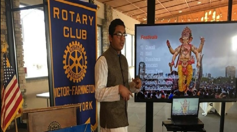 Rotary exchange student Gaurev Revankar discusses his home country India at a Victor-Farmington Rotary Club meeting