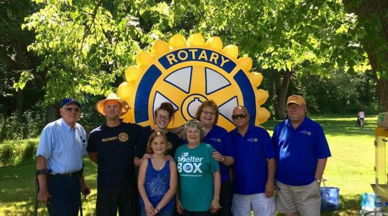 Mercer Rotary Club members host fundraisers and participate in a variety of community events. Pictured from left are: in back row, Tom Grant, Michael Davis, Katlin Bowser, Grace Anna Boggs, Jim Clapper and Rick Boggs; and front row, Lillian Davis and Marie Grant.