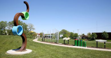 The Rotary Club of Bettendorf has created a new educational outdoor space, Rotary Row, at Faye's Field. The area features five permanent large outdoor musical instruments, including hand drums and four aluminum chimes. (Photo: Kevin E Schmidt)