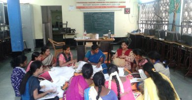 Women undergoing tailoring and embroidery classes at the Rotary Nagar  Community Centre run by Rotary Club of Madras.