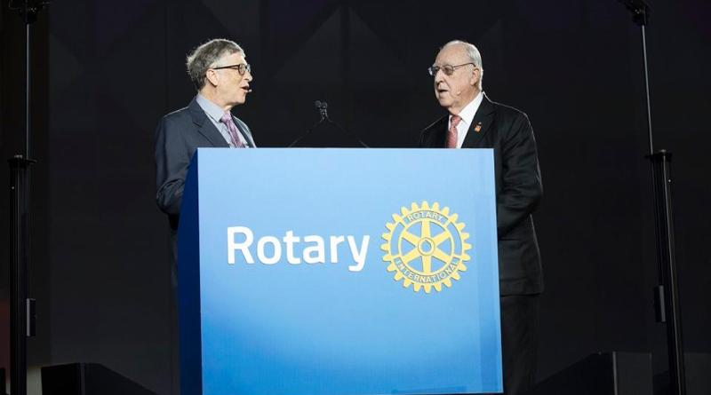 Bill Gates and John Germ, Rotary International President, during Gates' speech at the Rotary International Convention in Atlanta.
