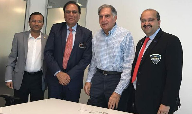 From L: TRF Support Avenue Chair Akkshay Mehta, DG Gopal Rai Mandhania, Chairman of the Tata Trusts Ratan Tata and Past President of RC Bombay Nirav Shah.