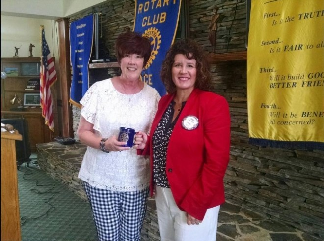 Guest speaker Paula Shell (left) from Big Brothers Big Sisters of Northwest Florida and Anna Weaver, president of Pace Rotary.