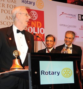 Past IPPC Chair Robert Scott being honoured. PDG Aziz Memon and Rtn Mahendra Patel, President, RC Dubai are also ­present