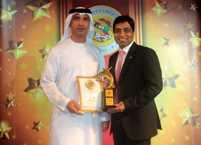 Rtn Padam Dugar, RC Madras Southwest, RI District 3230, won the prestigious Asian Leadership Award under the category: 'The most enterprising CEO of the year in real estate.' He received this award from His Highness Khaled Al Kamada, Director General, Government of UAE in Dubai. His organisation, Dugar Housing Ltd., won the 'Developer of the Year - Residential' award.