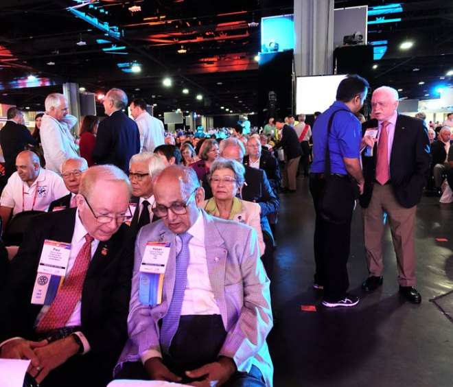 TRF Trustee Chair Kalyan Banerjee and Chair-elect Paul Netzel. Also in the picture (second row from left): Trustees Sakuji Tanaka, Seiji Kita with spouse Nobuko and Sushil Gupta (standing far right)
